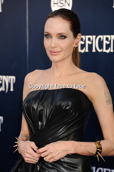 HOLLYWOOD, CA- MAY 28: Actress Angelina Jolie arrives at the World Premiere Of Disney's 'Maleficent' at the El Capitan Theatre on May 28, 2014 in Hollywood, California.<br />