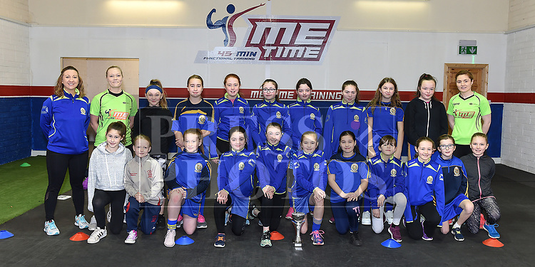 Wolfe Tones coach Stephanie Leonard with owner of Me Time Gym Jane Kerr, trainer Emma Brophy and players at the launch of the Wolfe Tones U-12 and U-14 girls teams. Photo:Colin Bell/pressphotos.ie