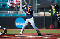 Taylor Jackson (15) of the Illinois Fighting Illini at bat against the Coastal Carolina Chanticleers at Springs Brooks Stadium on February 22, 2020 in Conway, South Carolina. The Fighting Illini defeated the Chanticleers 5-2. (Brian Westerholt/Four Seam Images)