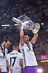 Alvaro Morata of Real Madrid lifts the Champions League Trophy during the UEFA Champions League Final match between Real Madrid and Juventus at the National Stadium of Wales, Cardiff, Wales on 3 June 2017. Photo by Giuseppe Maffia.<br /> <br /> Giuseppe Maffia/UK Sports Pics Ltd/Alterphotos