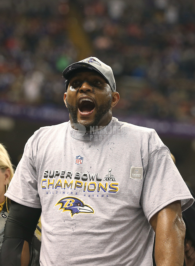 Feb 3, 2013; New Orleans, LA, USA; Baltimore Ravens inside linebacker Ray Lewis celebrates after defeating the San Francisco 49ers in Super Bowl XLVII at the Mercedes-Benz Superdome. Mandatory Credit: Mark J. Rebilas-