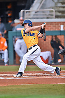 University of North Carolina Greensboro (UNCG) Spartans third baseman Caleb Webster (1) swings at a pitch during a game against the Tennessee Volunteers at Lindsey Nelson Stadium on February 24, 2018 in Knoxville, Tennessee. The Volunteers defeated Spartans 11-4. (Tony Farlow/Four Seam Images)