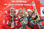 Astrid Jacobsen, Therese Johaug, Heidi Weng at the podium of the Final Climb pursuit race of the Tour de ski in Val Di Fiemme <br /> <br /> &copy; Pierre Teyssot
