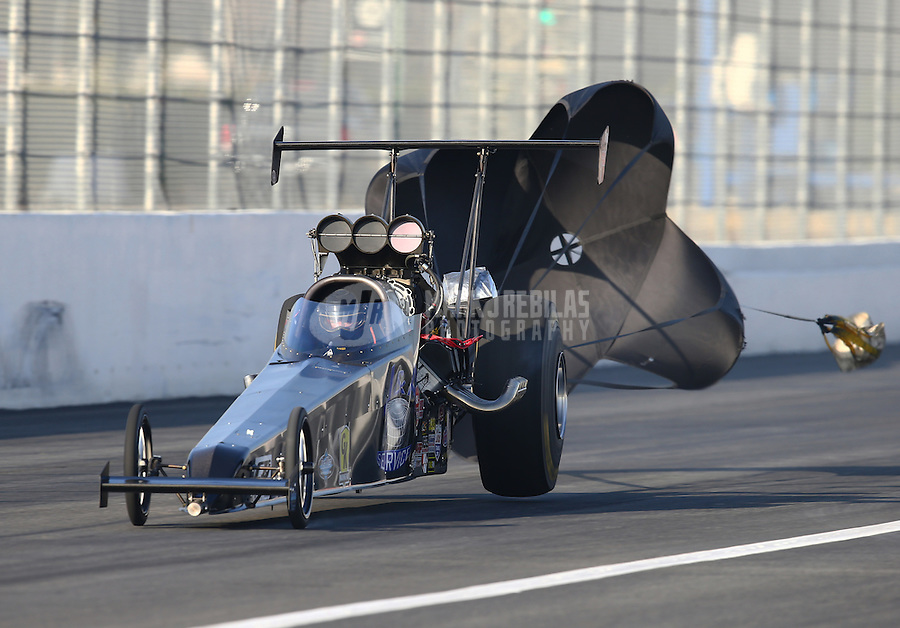 Feb 13, 2016; Pomona, CA, USA; NHRA top alcohol dragster driver Joey Severance during qualifying for the Winternationals at Auto Club Raceway at Pomona. Mandatory Credit: Mark J. Rebilas-USA TODAY Sports
