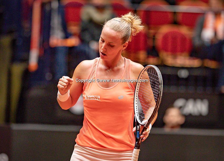 Den Bosch, The Netherlands, Februari 9, 2019,  Maaspoort , FedCup  Netherlands - Canada, first match: Richel Hogenkamp (NED)<br /> Photo: Tennisimages/Henk Koster