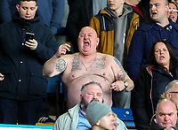 A topless Sheffield Wednesday fan taunt the Leeds United fans<br /> <br /> Photographer Alex Dodd/CameraSport<br /> <br /> The EFL Sky Bet Championship - Leeds United v Sheffield Wednesday - Saturday 13th April 2019 - Elland Road - Leeds<br /> <br /> World Copyright © 2019 CameraSport. All rights reserved. 43 Linden Ave. Countesthorpe. Leicester. England. LE8 5PG - Tel: +44 (0) 116 277 4147 - admin@camerasport.com - www.camerasport.com