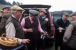 Game Bird Shoot, private estate shooters take lunch. Singleton, West Sussex. 2004