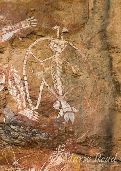 "Aboriginal rock art ""Namarrgon, Lightning Man,"" Nourlangie Rock, Kakadu National Park, Northern Territory, Australia"