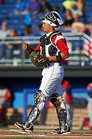 Batavia Muckdogs catcher Roy Morales (34) during a game against the Williamsport Crosscutters on July 15, 2015 at Dwyer Stadium in Batavia, New York.  Williamsport defeated Batavia 6-5.  (Mike Janes/Four Seam Images)