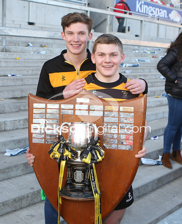 SCF2016 - RBAI vs Campbell College | Thursday 17th March 2016<br /> <br /> Mark Keane with his brother after the Ulster Schools Cup Final between RBAI and Campbell College at Kingspan Stadium, Ravenhill Park, Belfast, Northern Ireland. Photo credit: John Dickson / DICKSONDIGITAL