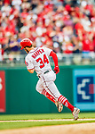 3 April 2017: Washington Nationals outfielder Bryce Harper rounds the bases after his solo home run clears the right field fence in the 6th inning on Opening Day against the Miami Marlins at Nationals Park in Washington, DC. Harper's homer was his 5th consecutive Opening Day home run since starting his career in Washington as the  Nationals went on to defeat the Marlins 4-2 to open the 2017 MLB Season. Mandatory Credit: Ed Wolfstein Photo *** RAW (NEF) Image File Available ***