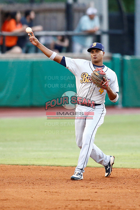 Montgomery Biscuits shortstop Jermaine Palacios (4) throws to first base after fielding a hit ball during the game against the Chattanooga Lookouts on May 26, 2018 at AT&T Field in Chattanooga, Tennessee. (Andy Mitchell/Four Seam Images)