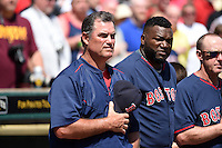 Boston Red Sox manager John Farrell (53) and designated hitter David Ortiz during the national anthem before a Spring Training game against the Pittsburgh Pirates on March 12, 2015 at McKechnie Field in Bradenton, Florida.  Boston defeated Pittsburgh 5-1.  (Mike Janes/Four Seam Images)