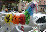 "A view of, ""Splash of Music"" by artist, Anastasia LaPeruta, one of the ""Rockin' Horses"" on display around Saugerties, NY as part of the Chamber of Commerce sponsored Art in the Village Project titled ""Rockin' Around Saugerties."" This photo taken on Friday, May 26, 2017. Photo by Jim Peppler. Copyright/Jim Peppler-2017."