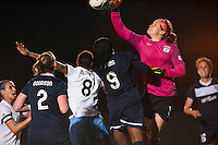 Chicago Red Stars goalkeeper Erin McLeod (1) punches the ball clear. Sky Blue FC and the Chicago Red Stars played to a 1-1 tie during a National Women's Soccer League (NWSL) match at Yurcak Field in Piscataway, NJ, on May 8, 2013.