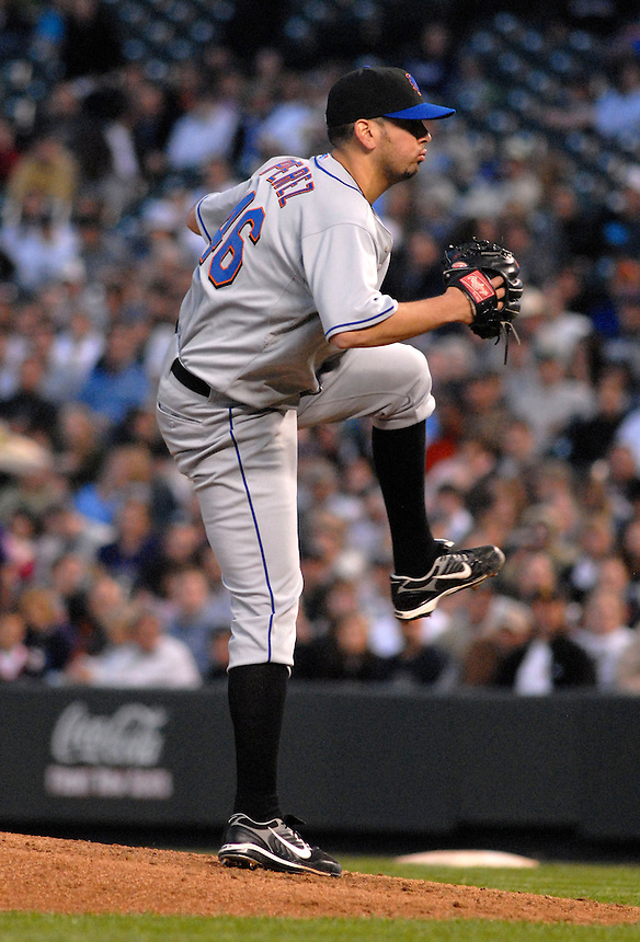 Mets starting pitcher Oliver Perez during a game between the New York Mets and the Colorado Rockies at Coors Field in Denver, Colorado on May 23, 2008.