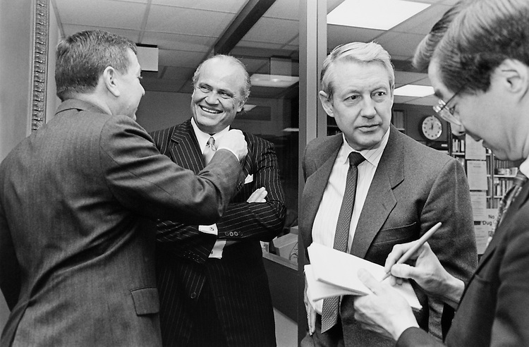 "Sen. John David Ashcroft, R-MO., Sen. Fred Dalton Thompson, R-Tenn., and Sen. George Hanks ""Hank"" Brown, R-Colo., talking with reporters term limits press conference on Thursday. Febuary 8, 1995 (Photo by Laura Patterson/CQ Roll Call)"