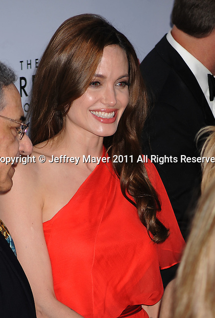 "LOS ANGELES, CA - MAY 24: Angelina Jolie  attends ""The Tree Of Life"" Los Angeles Premiere at the Bing Theatre in the Los Angeles County Museum of Art on May 24, 2011 in Los Angeles, California."
