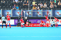 Gonzalo Peillat scores Argentina's 1st goal to take the score to 3-1 to England during the Hockey World League Semi-Final match between England and Argentina at the Olympic Park, London, England on 18 June 2017. Photo by Steve McCarthy.