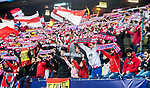 Fans of Atletico de Madrid wave flags and banners to show their supports for the team prior to the 2016-17 UEFA Champions League Round of 16 second leg match between Atletico de Madrid and Bayer 04 Leverkusen at the Estadio Vicente Calderon on 15 March 2017 in Madrid, Spain. Photo by Diego Gonzalez Souto / Power Sport Images