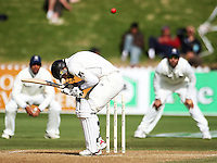 NZ's Ross Taylor ducks a bouncer from Zaheer Khan during day four of the 3rd test between the New Zealand Black Caps and India at Allied Prime Basin Reserve, Wellington, New Zealand on Monday, 6 April 2009. Photo: Dave Lintott / lintottphoto.co.nz.