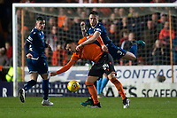 27th December 2019; Dens Park, Dundee, Scotland; Scottish Championship Football, Dundee Football Club versus Dundee United; Jordan McGhee of Dundee challenges for the ball with Lawrence Shankland of Dundee United  - Editorial Use