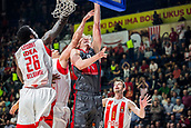 9th February 2018, Aleksandar Nikolic Hall, Belgrade, Serbia; Euroleague Basketball, Crvenz Zvezda mts Belgrade versus AX Armani Exchange Olimpia Milan; Forward Mindaugas Kuzminskas of AX Armani Exchange Olimpia Milan fights for the ball against Center Mathias Lessort of Crvena Zvezda mts Belgrade and Center Milko Bjelica of Crvena Zvezda mts Belgrade under the basket