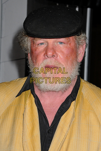 "Nick Nolte.""Gangster Squad"" Los Angeles Premiere held at Grauman's Chinese Theatre, Hollywood, California, USA..January 7th, 2013.headshot portrait black flat cap hat beard facial hair collar shirt yellow .CAP/ADM/BP.©Byron Purvis/AdMedia/Capital Pictures."