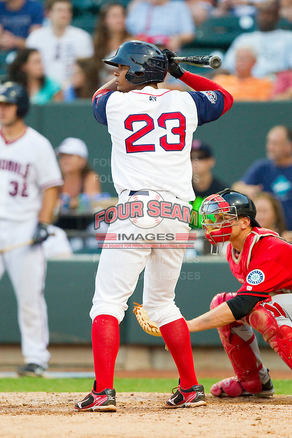 Carolina League All-Star Xander Bogaerts #23 of the Salem Red Sox at bat against the California League All-Stars during the 2012 California-Carolina League All-Star Game at BB&T Ballpark on June 19, 2012 in Winston-Salem, North Carolina.  The Carolina League defeated the California League 9-1.  (Brian Westerholt/Four Seam Images)