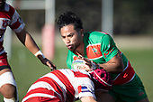 Tevita Halafihi takes on Scott Uren. Counties Manukau Premier Club Rugby game between Karaka and Waiuku, played at Karaka Sports Park on Saturday June 9th 2018. Karaka won the game 22 - 18 after trailing 5 - 13 at halftime.  Photo by Richard Spranger.