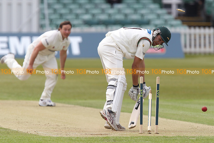 Nathan Buck of Leicestershire is bowled out by Graham Napier - Leicestershire CCC vs Essex CCC  - LV County Championship Division Two Cricket at Grace Road, Leicester - 17/05/12 - MANDATORY CREDIT: Gavin Ellis/TGSPHOTO - Self billing applies where appropriate - 0845 094 6026 - contact@tgsphoto.co.uk - NO UNPAID USE.