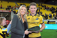 Hurricanes centurion Beauden Barrett (right) with his partner Hannah Laity after the Super Rugby match between the Hurricanes and Crusaders at Westpac Stadium in Wellington, New Zealand on Saturday, 10 March 2018. Photo: Dave Lintott / lintottphoto.co.nz