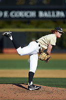 Wake Forest Demon Deacons starting pitcher Colin Peluse (8) follows through on his delivery against the Gardner-Webb Runnin' Bulldogs at David F. Couch Ballpark on February 18, 2018 in  Winston-Salem, North Carolina. The Demon Deacons defeated the Runnin' Bulldogs 8-4 in game one of a double-header.  (Brian Westerholt/Four Seam Images)