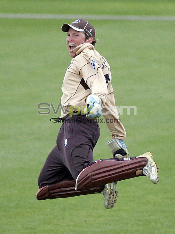PICTURE BY VAUGHN RIDLEY/SWPIX.COM - Cricket - Friends Provident Trophy - Yorkshire v Surey - Headingley, Leeds, England - 04/05/09...Copyright - Simon Wilkinson - 07811267706...Surrey's Gary Wilson leaps in the air after stumping  Yorkshire's Jacques Rudolph.