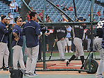 (R-L) Ichiro Suzuki (Yankees), Gosuke Kato,<br /> JUNE 14, 2013 - MLB :<br /> Ichiro Suzuki of the New York Yankees and Yankees second round draft pick Gosuke Katoh take batting practice before the Major League Baseball game against the Los Angeles Angels at Anaheim Stadium in Anaheim, California, United States. (Photo by AFLO)