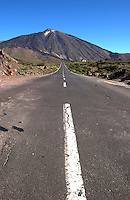 Road to Mount Teide showing church on the right. Tenerife, Cañadas national park. Canary Islands.