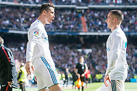 Real Madrid Cristiano Ronaldo and Lucas Vazquez celebrating a goal during La Liga match between Real Madrid and Atletico de Madrid at Santiago Bernabeu Stadium in Madrid, Spain. April 08, 2018. (ALTERPHOTOS/Borja B.Hojas) /NortePhoto NORTEPHOTOMEXICO