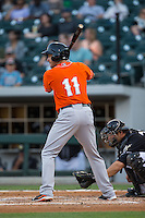Paul Janish (11) of the Norfolk Tides at bat against the Charlotte Knights at BB&T BallPark on April 20, 2016 in Charlotte, North Carolina.  The Knights defeated the Tides 6-3.  (Brian Westerholt/Four Seam Images)