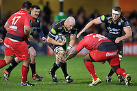Matt Garvey of Bath Rugby takes on the Toulon defence. European Rugby Champions Cup match, between Bath Rugby and RC Toulon on January 23, 2016 at the Recreation Ground in Bath, England. Photo by: Patrick Khachfe / Onside Images