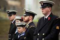 Pictured: Young people in uniform prepare for the two minute silence. Saturday 11 November 2017<br />Re: Armistice Day, two minutes were observed to mark remembrance at Castle Square in Swansea, Wales, UK.