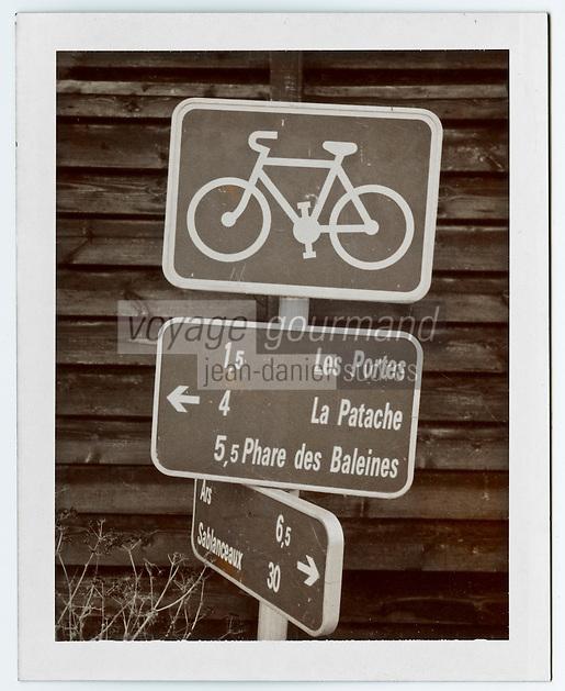 Europe/France/Poitou-Charentes/17/Charente-Maritime/Ile de Ré/Les Portes-en-Ré: Panneaux piste cyclable devant la la Maison du Fier