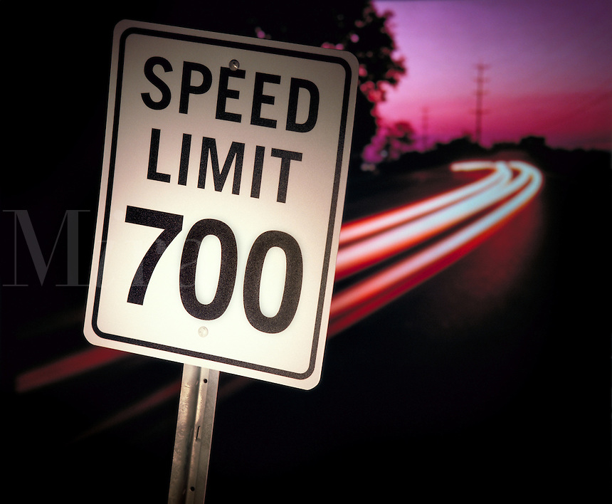 "Road sign that reads """" Speed limit 700 """" mph. United States."