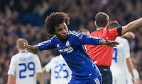 Willian of Chelsea turns to celebrate scoring his winning goal during the UEFA Champions League Group G match between Chelsea and Dynamo Kyiv at Stamford Bridge, London, England on 4 November 2015. Photo by Andy Rowland.