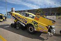 Apr. 5, 2013; Las Vegas, NV, USA: (Editors note: Special effects lens used in creation of this image) NHRA funny car driver Tony Pedregon in the staging lanes during qualifying for the Summitracing.com Nationals at the Strip at Las Vegas Motor Speedway. Mandatory Credit: Mark J. Rebilas-