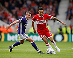 Lewis Baker of Middlesbrough tracked by Paul Coutts of Sheffield Utd during the Championship match at the Riverside Stadium, Middlesbrough. Picture date: August 12th 2017. Picture credit should read: Simon Bellis/Sportimage