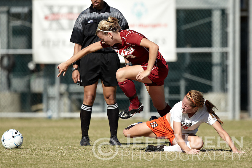 SAN ANTONIO, TX - NOVEMBER 7, 2010: The Oklahoma State University Cowgirls vs. the University of Oklahoma Sooners in the Big 12 Women's Soccer Championship at the Blossom Soccer Stadium. (Photo by Jeff Huehn)