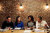 United States President Barack Obama and First Lady Michelle Obama have dinner with winners of a campaign contest, including, from left, John Loringer and Cathleen Loringer, from Wauwatosa, WI, at Boundary Road, on Thursday, March 8, 2012, in Washington, DC.  .Credit: Leslie E. Kossoff / Pool via CNP