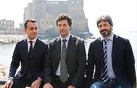 Matteo Brambilla candidato sindaco di Napoli del movimento 5 stelle si presenta alla stampa nella foto con Luigi Di Maio E Roberto Fico