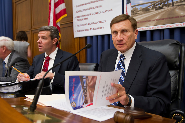 WASHINGTON, DC - July 07: House Transportation Chairman John L. Mica, R-Fla., right, before a news conference introducing the Republican transportation reauthorization proposal. (Photo by Scott J. Ferrell/Congressional Quarterly)