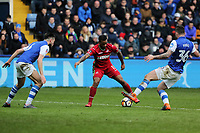 Luciano Narsingh of Swansea City (C) against Morgan Fox (L) and Daniel Pudil of Sheffield Wednesday (R) during The Emirates FA Cup Fifth Round match between Sheffield Wednesday and Swansea City at Hillsborough, Sheffield, England, UK. Saturday 17 February 2018